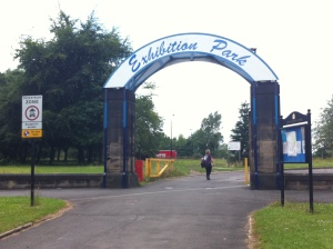 The entrance to Exhibition Park