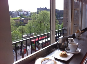 Have a coffee in Jenners and see the castle in the distance