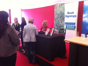 Kate Atkinson in the signing tent