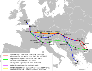 Showing the various journeys of the Orient Express. Look at the one to Venice! - image couresty of Wikipedia