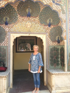 Lucinda on a research trip to India