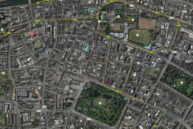 Map of central Dublin  - Google maps showing the castle (A) and the streets around Merrion Square, St Stephens Green and Castle Street