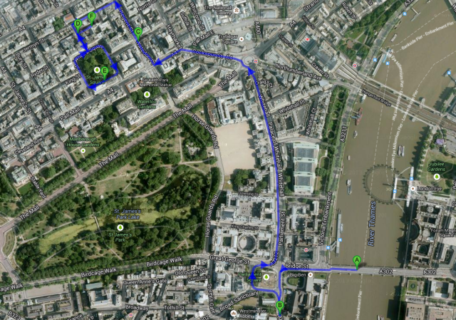 locations of Apple Tree Yard as walked by the Booktrailer - image courtesy of Google Maps