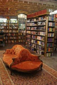 The three seater sofa with seats facing different ways - perfect for private literary moments