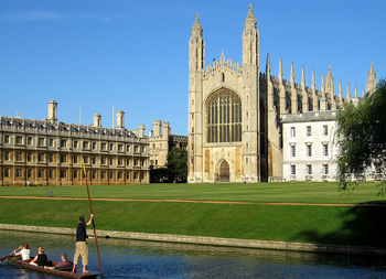 Cambridge - image by Wikipedia. Is that the professor in the boat by any chance?