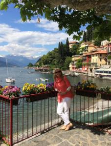 Erica James at Lake Como - photo courtesy of Erica James