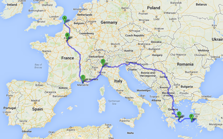 Emma's backpacking journey across Europe...to Ikaria Calais, Paris, Marseille, Milan, Athens and Ikaria
