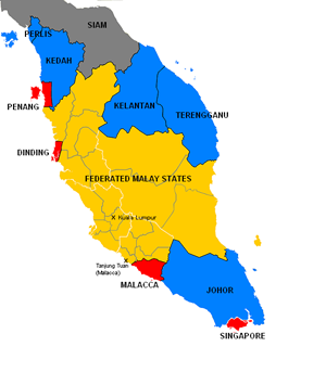 Malaya in 1922. (wikipedia) The unfederated Malay states in blue The Malaysia Federated Malay States (FMS) in yellow The Straits Settlements British Straits Settlements in red