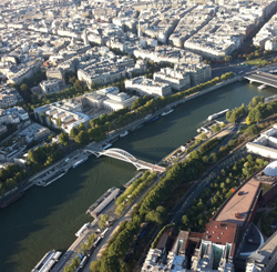 An aerial shot of the most fashionable city in the world