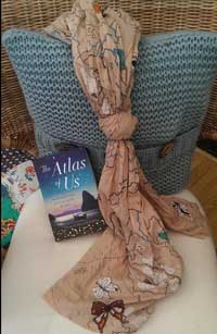 Picture courtesy of Tracy -book and map scarf!