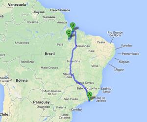 A - Belém  B - Tucuruí - Pará, Brazil and C - Rio