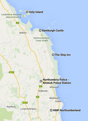 The Monument to Murder Booktrail locations including The Ship Inn at Low Newton, Bamburgh Castle and the makeshift incident room in Alnwick