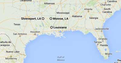 Louisiana showing Monroe and Shreveport