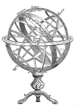 A beautiful object called an armillary sphere appears mysteriously in the gardens of the sisters' home on Lake Geneva and plays a key role in The Seven Sisters series.