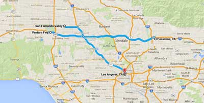 Pasadena  - where Kenilworth's mansion is San Fernando valley  - where Maggie says She had not come to LA to live here the Ventura freeway - where she drives each day Los Angeles