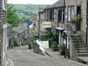 The Main street in Haworth - pic courtesy of Wikipedia - perfect for wandering down with Jane Eyre and Mr Rochester