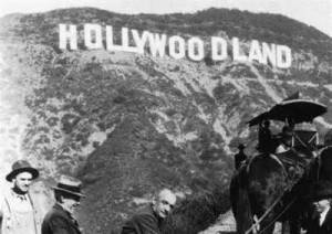 The Hollywood sign. Until 1949, it read 'Hollywoodland'. Liberty Silk, page 86.