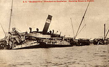 Wreck of the SS Mahratta on the Goodwin Sands, 1909. This was the first of two vessels of the name to be wrecked on these Kentish shoals.