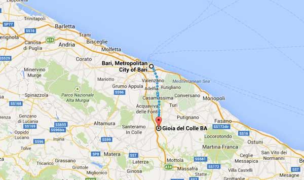 """Puglia Bari - """"Bari's city streets seem alien after so many weeks in Gioia"""" according to Clare Gioia del colle - where Ettre works on a farm the Masseria Vallarta the biggest farm near Gioia Piazza Plebiscito  - where Clare sees a man being beaten by a fascist squad"""