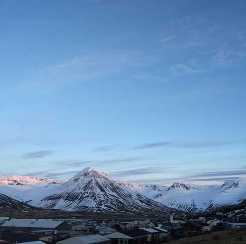 Siglufjörður at 11pm at night. Photo courtesy of Ragnar Jonasson