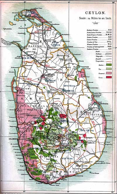 Map of Ceylon from first part of 20th century (C) Dinah Jefferies